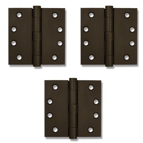 """Dark Bronze 4.5"""" Button Tip Heavy Duty Template Hinges (Set 3)"""