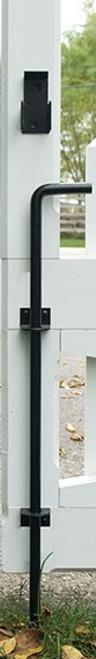 "24"" Black Stainless Steel Cane Bolt (Lockable) - Contemporary Brackets"