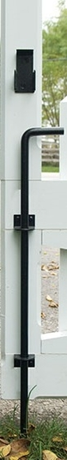 "24"" Black Stainless Steel Cane Bolt - Contemporary Brackets"