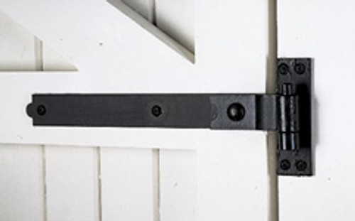 "18"" Heavy Duty Cranked Band Strap Hinges (Black) - Pair"