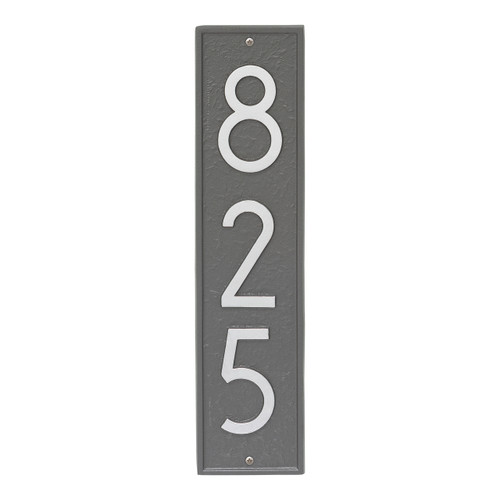 Delaware Modern Personalized Vertical Wall Plaque - Pewter/Silver