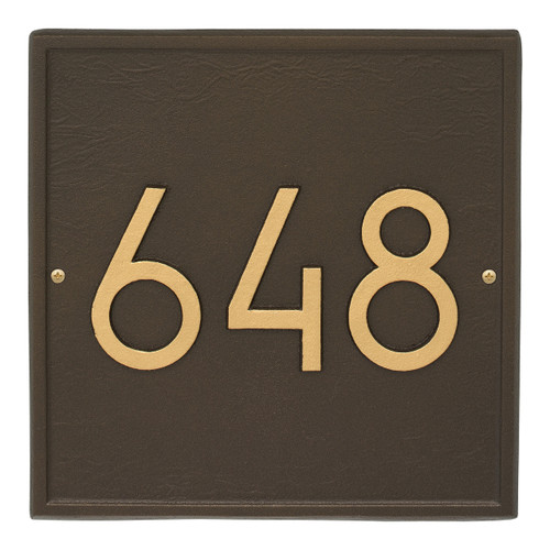 Square Modern Personalized Wall Plaque - Aged Bronze