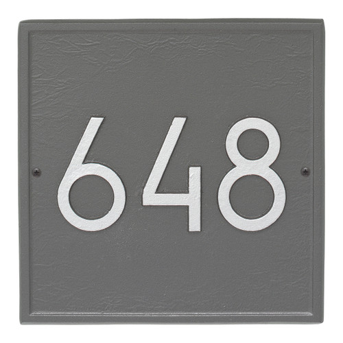 Square Modern Personalized Wall Plaque - Pewter/Silver