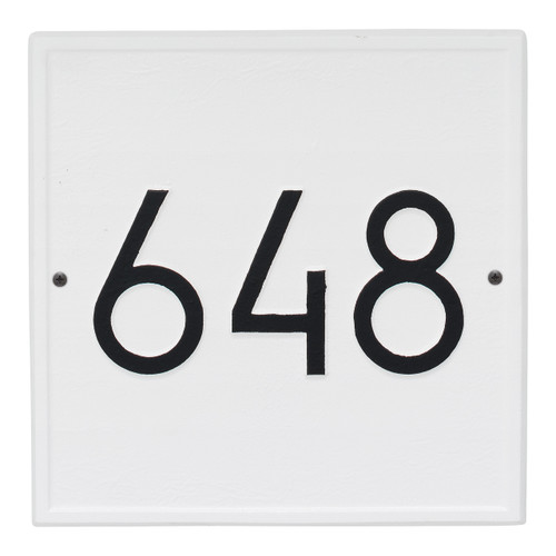 Square Modern Personalized Wall Plaque - White/Black