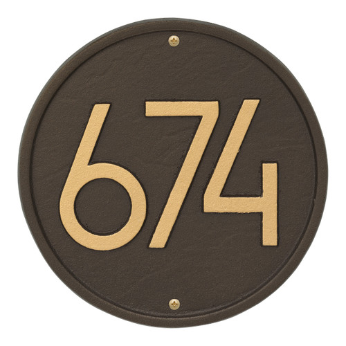 Round Modern Personalized Wall Plaque - Aged Bronze