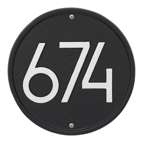 Round Modern Personalized Wall Plaque - Black/Silver