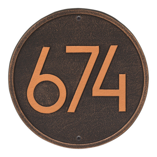 Round Modern Personalized Wall Plaque - Oil Rubbed Bronze