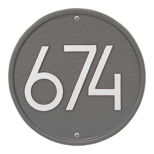 Round Modern Personalized Wall Plaque - Pewter/Silver
