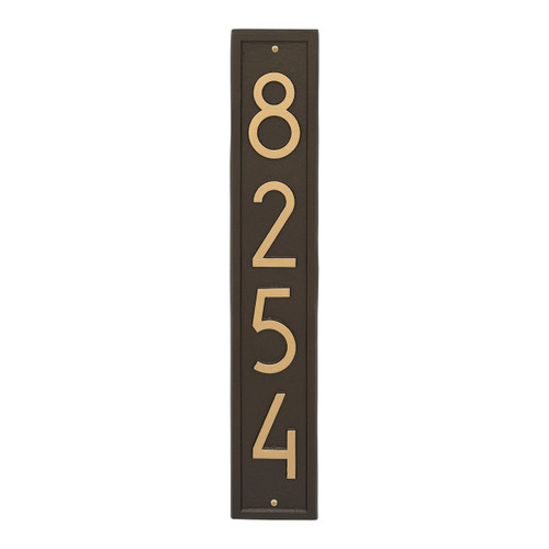 Vertical Modern Personalized Wall Plaque  - Aged Bronze