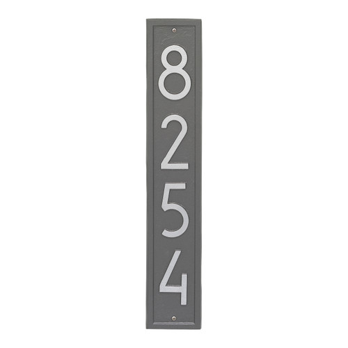 Vertical Modern Personalized Wall Plaque  - Pewter/Silver