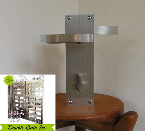 Leva Modern Stainless Steel Lockable Latch Package for Double Gates