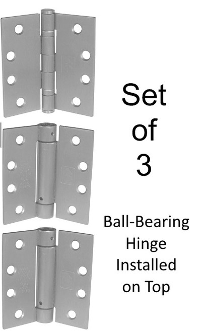 "4-1/2"" Stainless Steel Self-Closing Spring Hinge Combo Set of 3 Hinges"