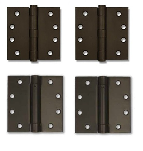 "Bronze Finish 4"" Self-Closing Spring Hinge Combo Set of 4 Hinges"