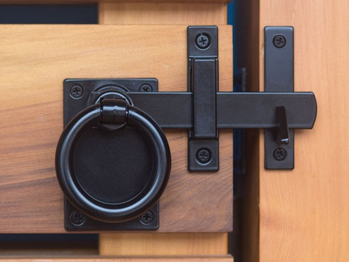 Contemporary Ring Gate Latch Set in Satin Black (Build Your Own Package)
