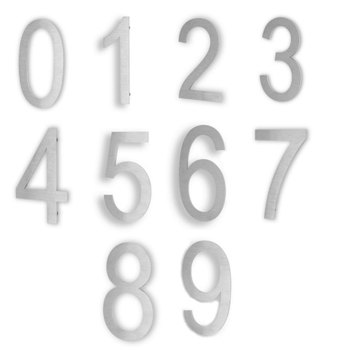 """6"""" Stainless Steel Contemporary Address Numbers - 2mm thick"""