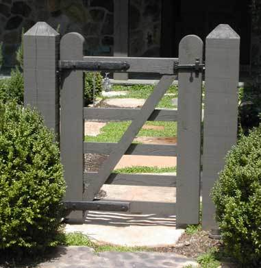 Rustic Wood Gate With Coastal Bronze Strap Hinges 20 324 20 317 And Bronze Gate Pintles 20 250 Installed With Coastal Bronze Thumb Latch 40 300 Straight