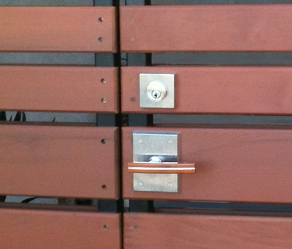 Stainless steel square deadbolt for thick gates and doors s50003 ext installed