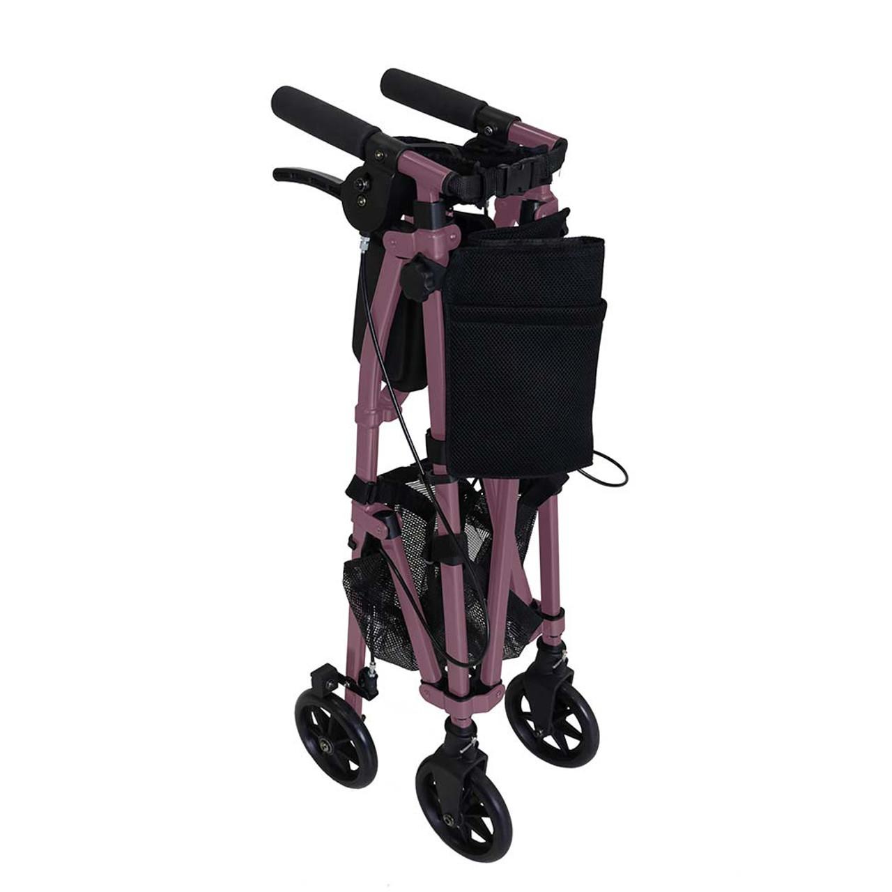 Portable Folding Mobility Walker MWPFL1  Folded Pink