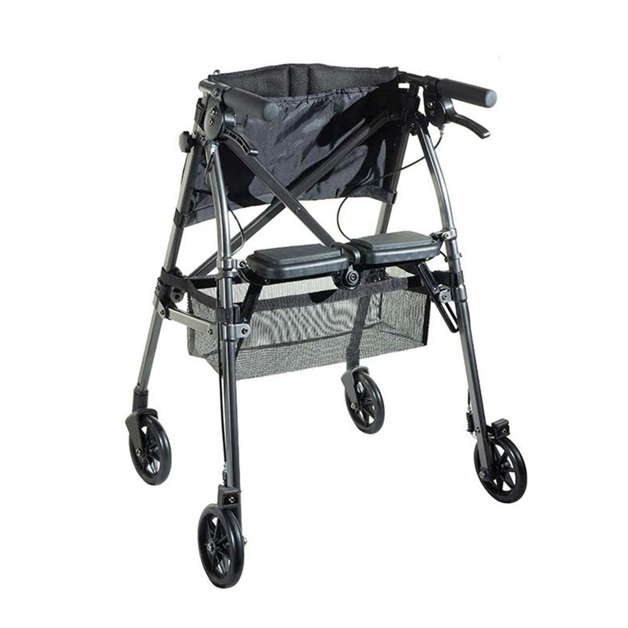 Portable Folding Mobility Walker MWPFL1  Open Back View Black