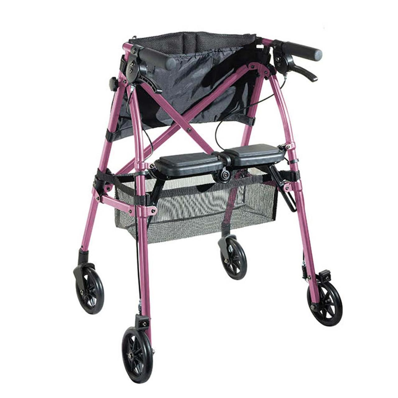 Portable Folding Mobility Walker MWPFL1  Open Back View Pink