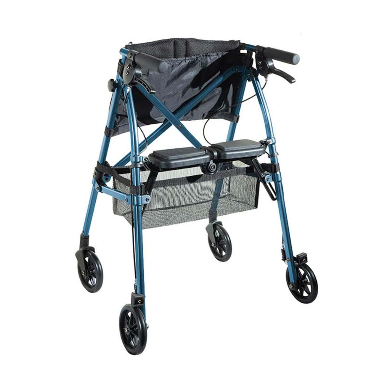 Portable Folding Mobility Walker MWPFL1  Open Back View Blue