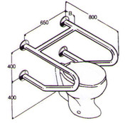 Toilet Rail 32mm Stainless AC0700 014