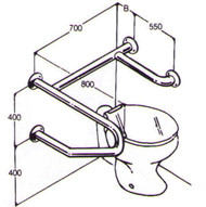 Toilet Rail 32mm Stainless AC0710 015