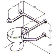 Toilet Rail 32mm Stainless AC0720 015A