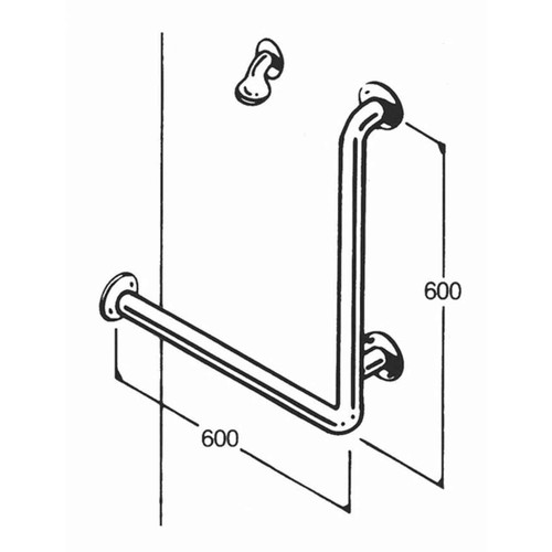Shower Rail 32mm Stainless Type 017