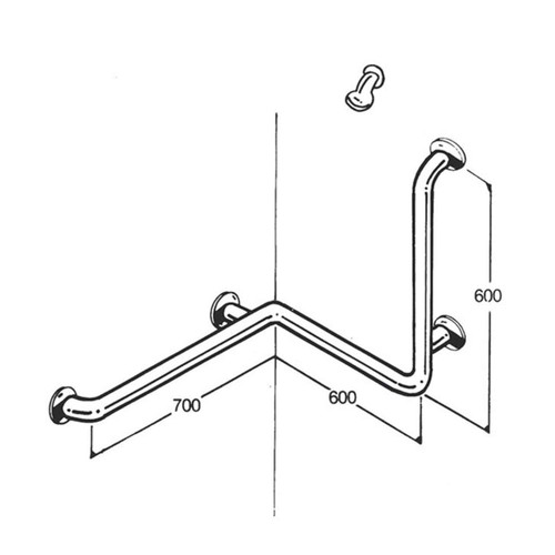 Shower Rail 32mm Stainless Type 019
