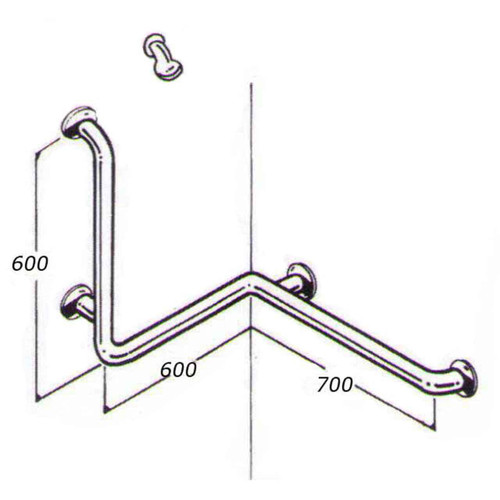 Shower Rail 32mm Stainless Type 019A