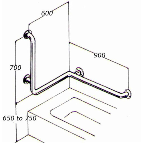 Bath Rail 32mm Stainless Type 025A