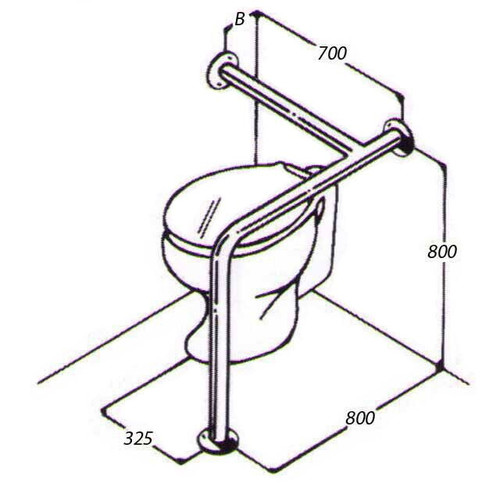 Toilet Rail 32mm Stainless AC0690 011A