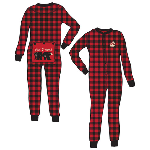 Bear Cheeks Flapjacks Onesie Union Suit Plaid Adult Unisex