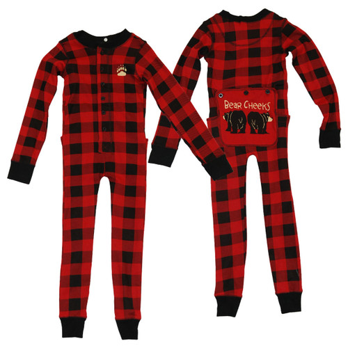 Children's Plaid Bear Cheeks Flapjacks Union Suit onesie Pajamas