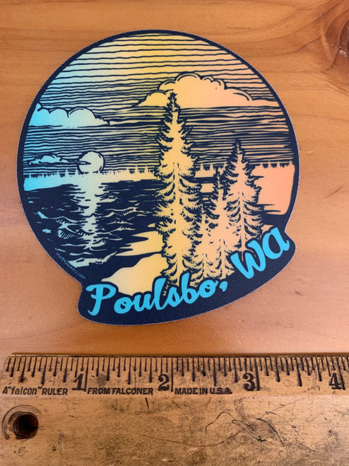 Poulsbo Sunset and Trees Vinyl Sticker