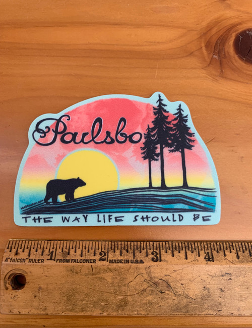 Poulsbo Sunset Beach Bear Vinyl Sticker