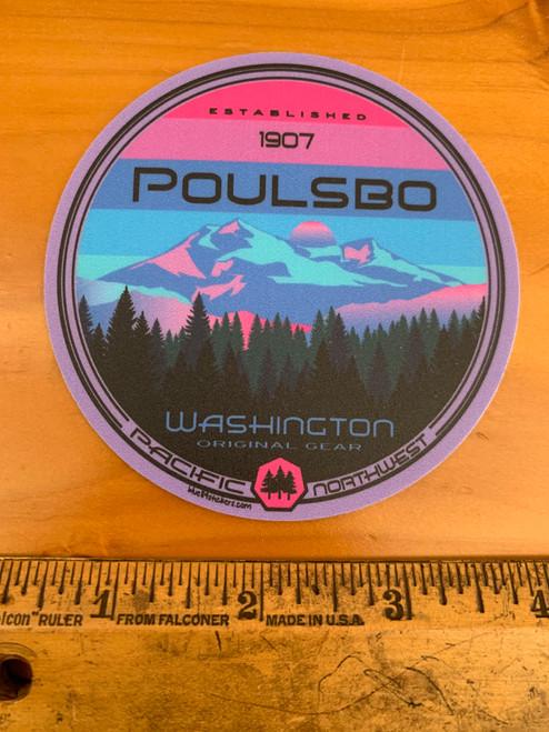 Poulsbo Trees Mountain Sunset Round Vinyl Sticker Decal