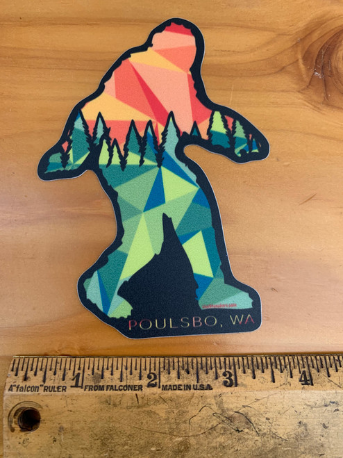 Poulsbo Sasquatch Big Foot Trees Sunset Vinyl Sticker Decal