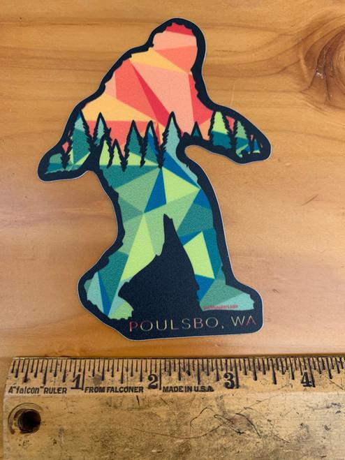 Poulsbo Sasquatch Big Foot Trees Sunset Vinyl Sticker Decal