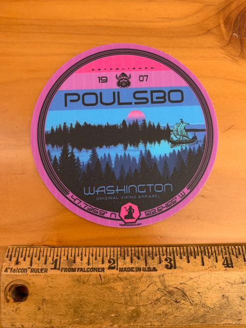 Poulsbo 1907 Viking Ship GPS Coordinates Sunset Vinyl Sticker Decal