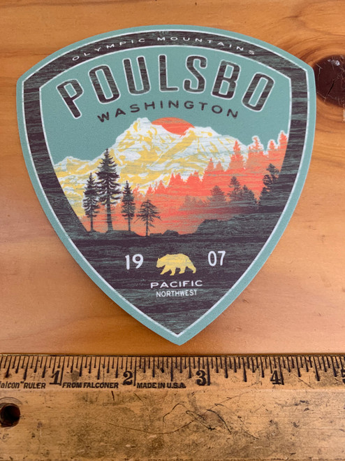 Poulsbo 1907 Mountains Patch Shaped Vinyl Sticker Decal