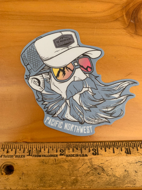 Pacific Northwest Bearded Guy Mountains are Calling Trucker Hat Vinyl Sticker Decal