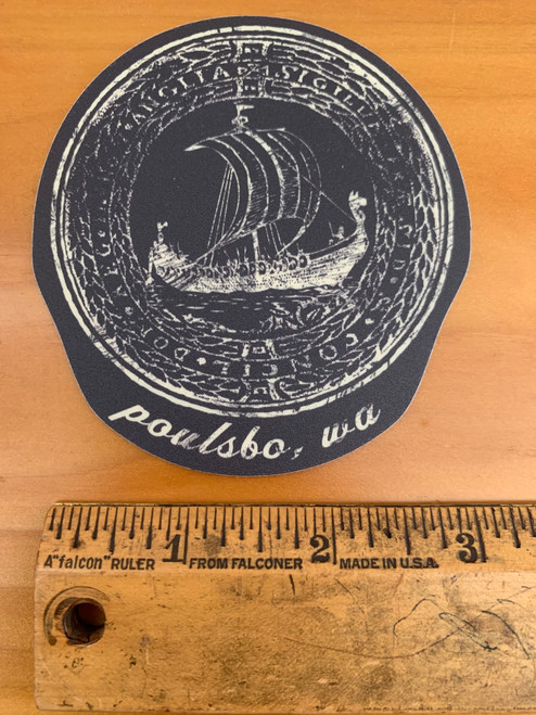 Poulsbo, WA Vintage Viking Ship Vinyl Sticker Decal