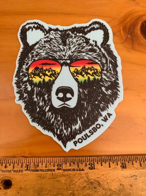 Bear with Sunglasses Poulsbo WA Vinyl Sticker Decal