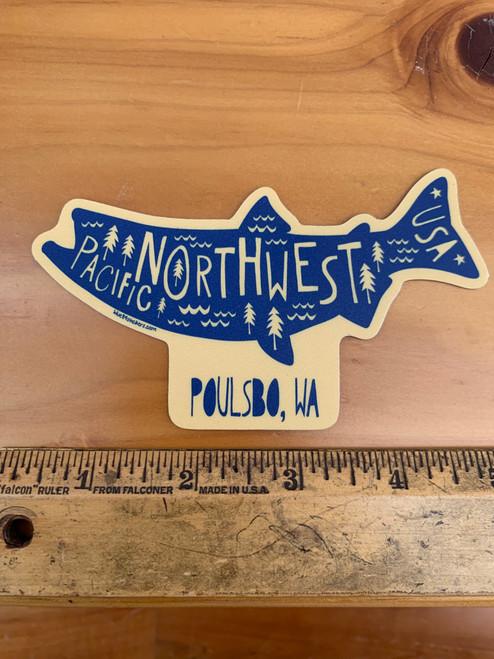Pacific Northwest Poulsbo WA Fish Salmon Vinyl Sticker Decal