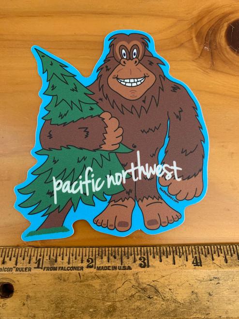 Pacific Northwest Sasquatch Big Foot Tree Vinyl Sticker Decal