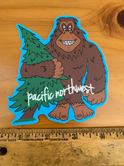 Pacific Northwest Sasquatch Big Foot Tree Vinyl Sticker Decal