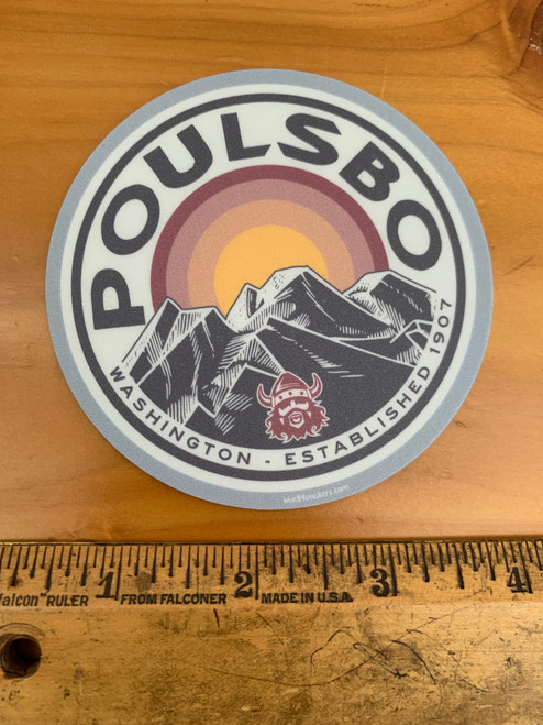 Poulsbo Mountains Sunset Viking 1907 Vinyl Sticker Decal