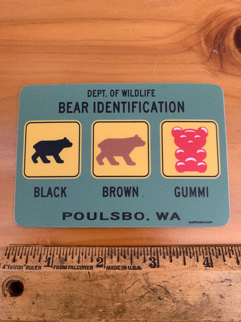 Wildlife Bear Identification Poulsbo WA Vinyl Sticker Decal